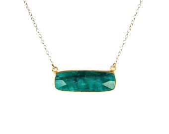 Emerald necklace - may birthstone - bar necklace - rectangle necklace - a 22k gold lined green emerald on a 14k gold filled chain