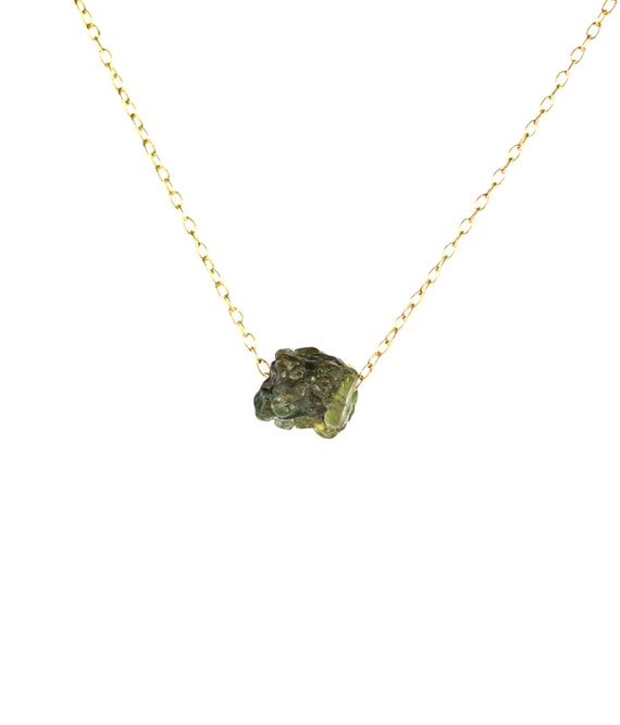 Green garnet necklace - raw crystal necklace - january birthstone - chakra necklace - a raw garnet nugget on a 14k gold vermeil chain
