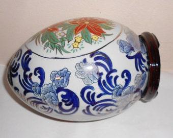 """HUGE Vintage Asian porcelain egg on wood base large 9"""" tall floral poinsettia cobalt blue motif gold leaf"""