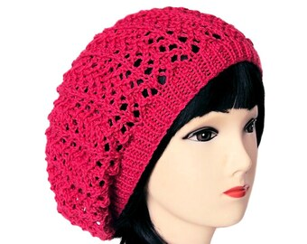 Pink Beanie Hat, Slouchy Hat, Pink Hat, Slouchy Beanie, Knit Beanie, Hot Pink Hat, Baggy Beanie Hat, Gifts for Her, Sue Maun