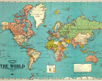 Vintage Look World Map Gift Wrap or Poster by Cavallini