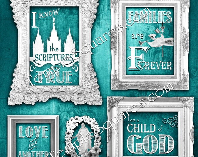 Printable in 3 popular LARGE poster sizes LDS 2016 primary theme I Know the Scriptures Are True Art bundle Colorful chalkboard subway grunge
