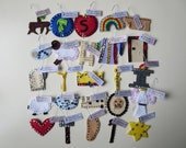 25 felt Jesse Tree ornaments - Our DELUXE 'Bead and Sequin' set - with hooks and tags