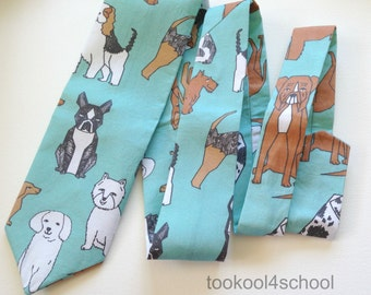 Adult lots of dog breeds fabric tie