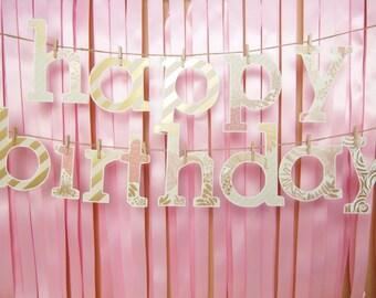 Pink & Gold Birthday Banner