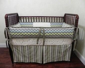 Custom Baby Bedding Set Stone -  Boy Baby Bedding, Chevron Baby Bedding, Cream and Taupe Crib Bedding