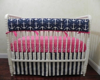 Bumperless Baby Crib Bedding Set Tracy-Nautical Baby Bedding, Baby Girl Bedding, Anchor Bedding, Navy and Pink Bedding, Crib Rail Cover