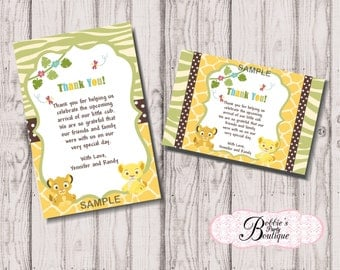 Lion King Baby Shower Thank You Cards, Digital Download, Lion King Baby Shower Thank you cards digital download, Lion King Thank you cards