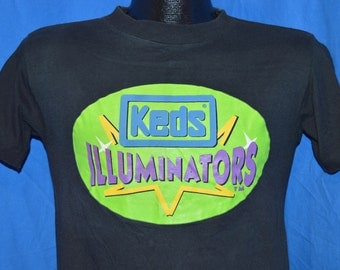 90s Keds Illuminators Light Up Sneakers Neon Black Vintage t-shirt Small