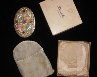 1960s Bejeweled Dorset Rex 5th Avenue Compact in original packaging
