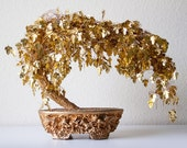 Vintage gold wire bonsai tree sculpture
