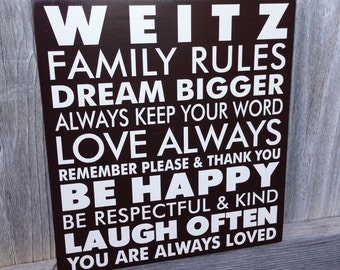 Custom Personalized Family Rules Wood Sign - You Are Always Loved