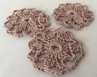 Set of 3 Handmade Crochet Doily Embellishments Appliqué - Coffee Latte Brown