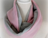 Pink and Gray Fleece Infinity Scarf, Fall and Winter Scarf, Soft Warm Scarf