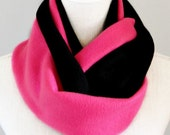 Hot Pink and Black Fleece Infinity Scarf, Fall and Winter Scarf, Soft Warm Scarf