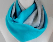 Turquoise Blue and Gray Fleece Infinity Scarf, Fall and Winter Scarf, Light Teal, Aqua, Colorblock Infinitiy Scarf