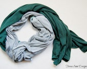 Green and Gray Lightweight Hand Dyed Scarf, Green and Silver Scarf, 100% Viscose, Soft Light Scarf