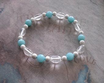 Brazilian Aquamarine & quartz bracelet
