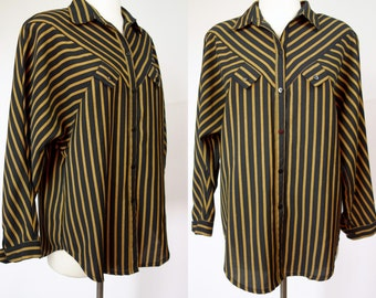 1980s striped blouse, black & yellow boxy loose fit long sleeve top, Medium, large, XL