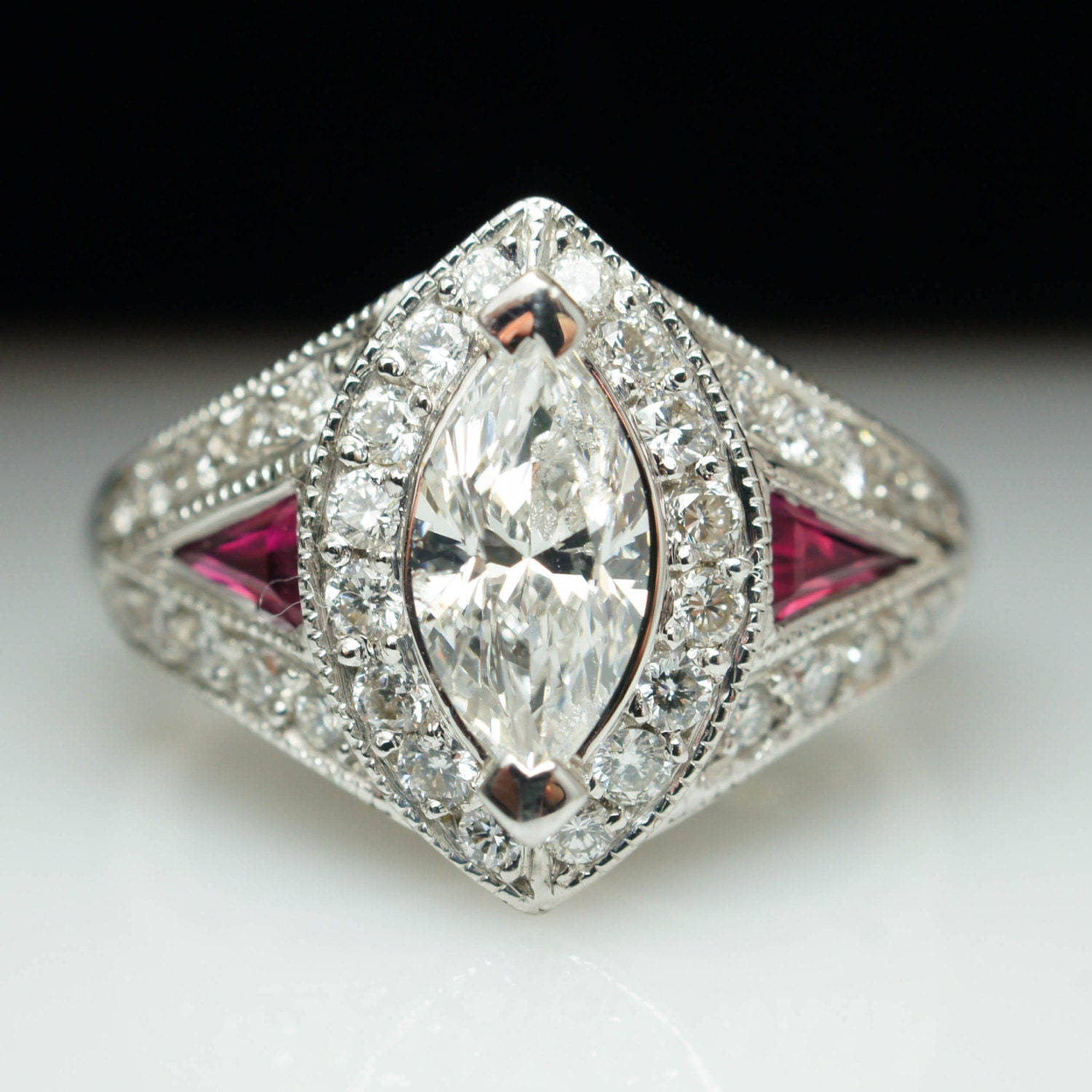 Vintage 240ctw marquise cut diamond ruby engagement ring for Ruby wedding band rings