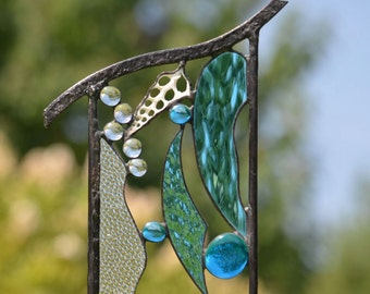 Large Stained Glass Beach Art, Yard Art, Beach Decor, Garden Sculpture, Garden Decor, Glass Garden Art,  'Ocean Treasures'
