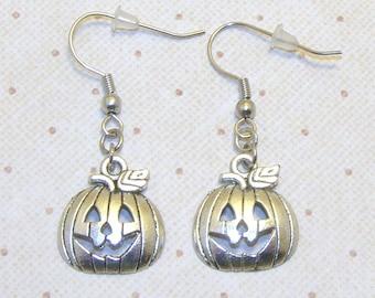 Silver Jack O' Lantern Earrings, Pumpkin Earrings, Pumpkin Jewelry, Halloween Jewelry, Halloween  Earrings