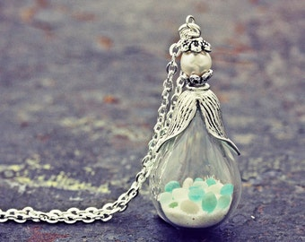 Sea Glass Necklace Seaglass Terrarium Pendant Glow In the Dark Jewelry Freshwater Pearl Blue Ocean Sand Silver Hand Blown Glass Teardrop