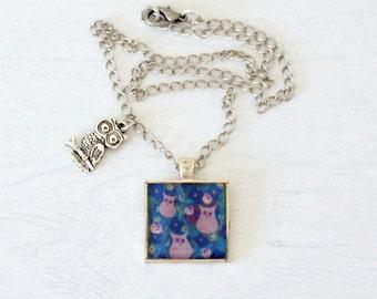 Owl Pendant, Silver Pendant Necklace, Resin Pendant, Purple Pendant, Blue Pendant, Naive Art Pendant