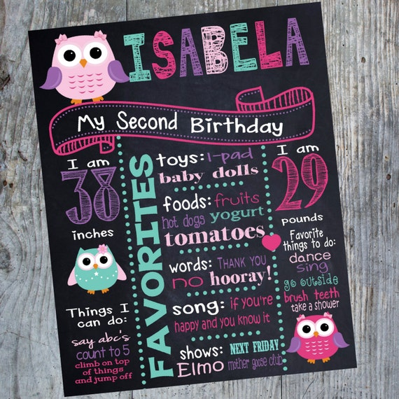 Owl Birthday Sign Owl First Bithday Chalk Board Poster