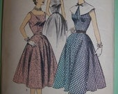 Vintage mid 1950's Advance Pattern Misses' Dress or Jumper-- Size 16--Older Dot Pattern--  Complete and  Uncut  #7090