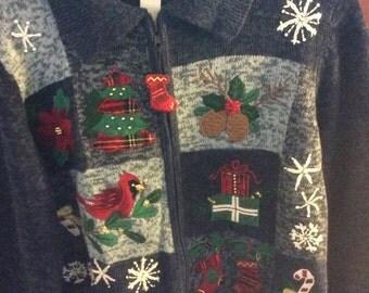 Denim Blue Christmas Cardigan, Sized Medium