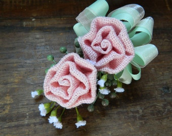 Pink and Mint Green corsage