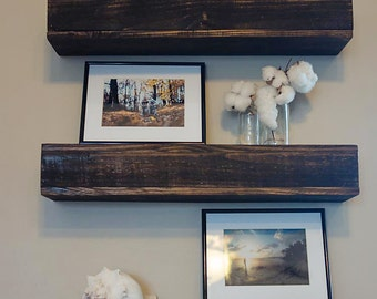 Rustic Wood Floating Shelf