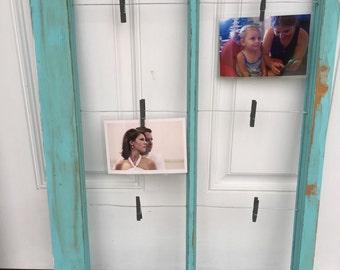 Reclaimed window photo display