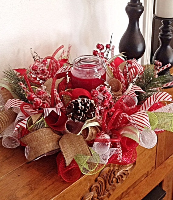 Elegant christmas candle centerpiece arrangment