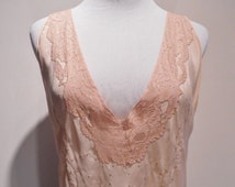 Handmade Salmon Pink Silk Crepe & Heirloom Top Stitched Lace Nightgown, c. 1930