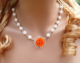 Bridal/Wedding jewelry,Orange Floral Pearl Necklace,Bridesmaid Necklace,Asymmetrical Floral Pearl Necklace, Pearl Necklace & Earrings