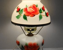 Vintage Beautiful Victorian Style Distressed White Milk Glass Hurricane Lamp with Hand painted Roses Lamp