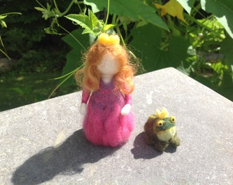 Needle felted, Princess and Frog,Fairy tail