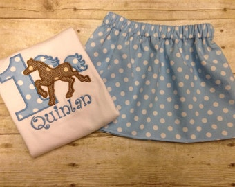 Blue Polka Dot Girls Horse Birthday Outfit/ Girls Birthday Horse Shirt/ Personalized Horse Shirt and Set Set/ Pony Birthday Outfit/ Western