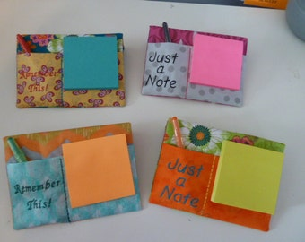 Post It Machine Embroidered Fabric Note Pad Holder