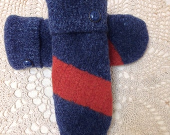Wool mittens-Upcycled-recycled felted navy and rust wool mittens-made from sweaters