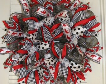 Alabama Wreath, Houndstooth Wreath, Crimson Tide Wreath, Add your own monogram