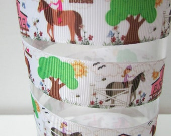 Horse Lovers Theme Grosgrain Ribbon - 7/8 in.  wide x 3 yards