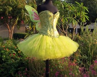 Adult Tinkerbell Halloween costume skirt. Halloween, adult costume, fairy costume, cosplay.  A beautiful tinker bell, lavishly full skirt.