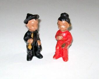 Vintage Pair Porcelain Oriental Boy and Girl Figurines