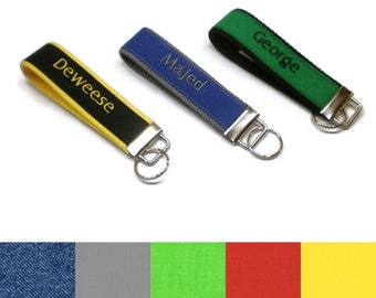 Personalized solid color fabric key fob, monogrammed key chain, keys wristlet. Key fobs for men. Personalized mens gifts. Stocking stuffer.