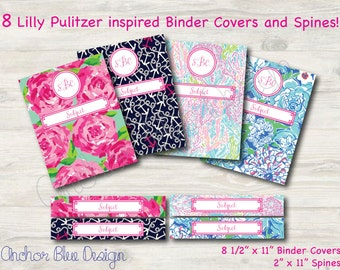 8 Lilly Pulitzer Inspired Monogrammed Binder Covers and Matching Spines