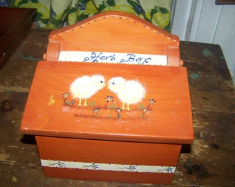 Lovely Vintage Hand Painted Chick HERB Box
