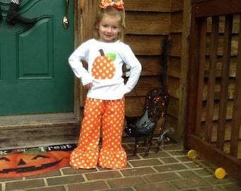 Fall Pumpkin Ruffle pants and top outfit pumpkin patch 12 18 24 2 3 4 5 6 7 8